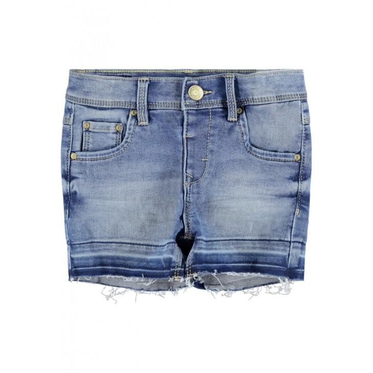 σορτς jean ελαστικο με ξεφτια ανοιχτο μπλε light blue denim name it 13186122