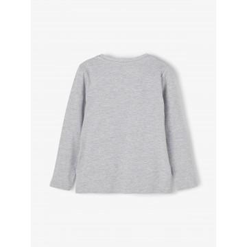 μπλουζα μακρυ μανικι,οργανικο βαμβακι με σταμπα γκρι grey melange name it 13186291
