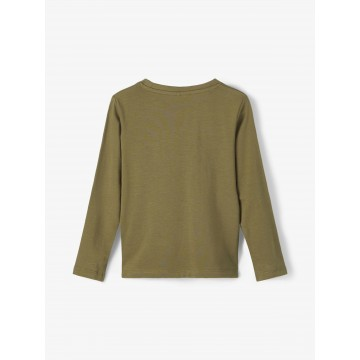 μπλουζα μακρυ μανικι,οργανικο βαμβακι με σταμπα λαδι ivy green 13186291