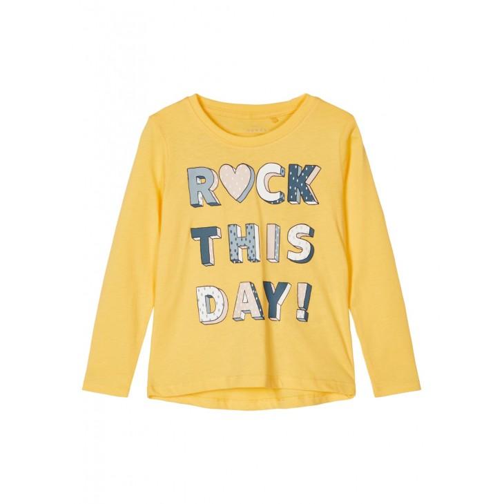 μπλουζα μακρυ μανικι,οργανικο βαμβακι με σταμπα μουσταρδι sunset gold name it 13186923