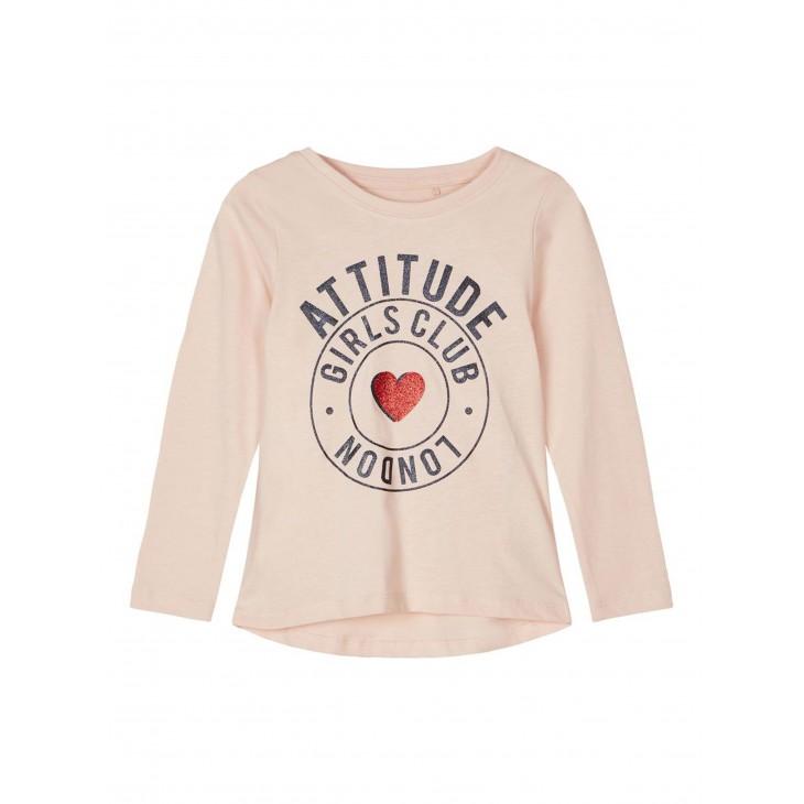 μπλουζα μακρυ μανικι,οργανικο βαμβακι με σταμπα ροζ ανοιχτο peach whip name it 13186923