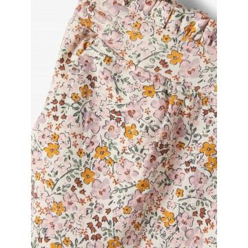 παντελονι ελαστικο floral με ζωνακι στην μεση λευκο whitecap gray name it 13187124