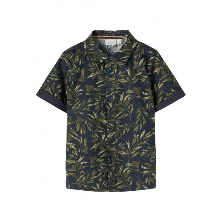 πουκάμισο κοντό μανίκι με σχέδια μπλε σκούρο dark sapphire name it 13187529