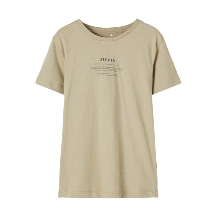 μπλουζα κοντο μανικι,οργανικο βαμβακι με σταμπα μπεζ silver sage name it 13187534