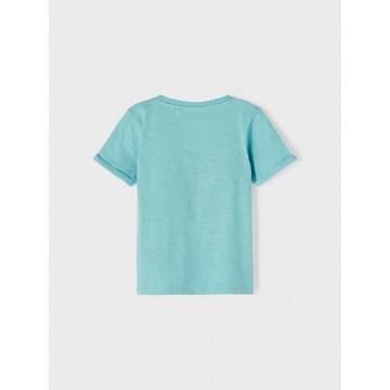 μπλούζα κοντό μανίκι οργανικό βαμβάκι με τύπωμα βεραμάν aqua name it 13187539