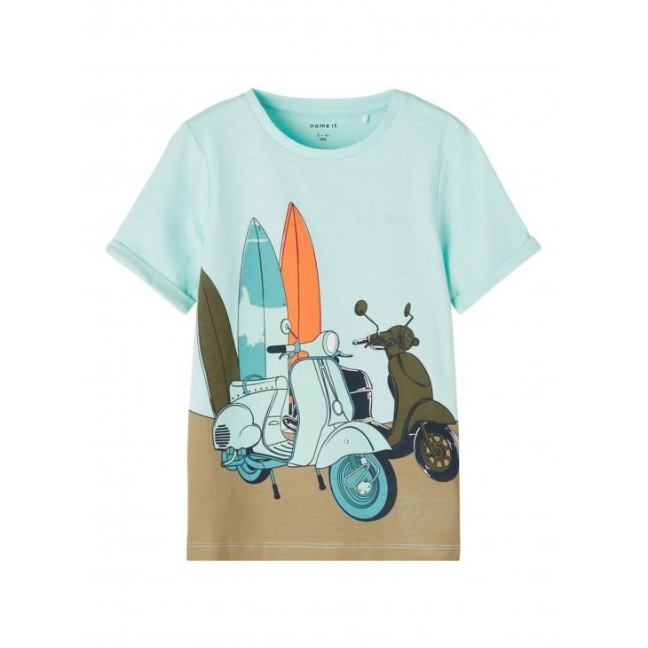 μπλούζα κοντό μανίκι οργανικό βαμβάκι με τύπωμα βεραμάν blue tint name it 13187539