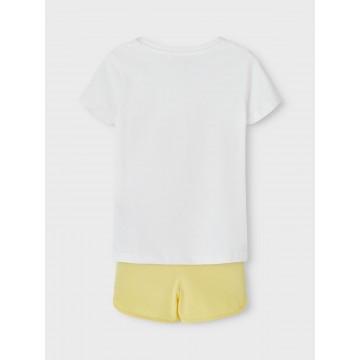 σετ οργανικό βαμβάκι κοντό μανίκι με στάμπα στην μπλούζα λευκό bright white name it 13187619