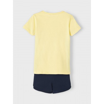 σετ οργανικό βαμβάκι κοντό μανίκι με στάμπα στην μπλούζα κίτρινο popcorn name it 13187619