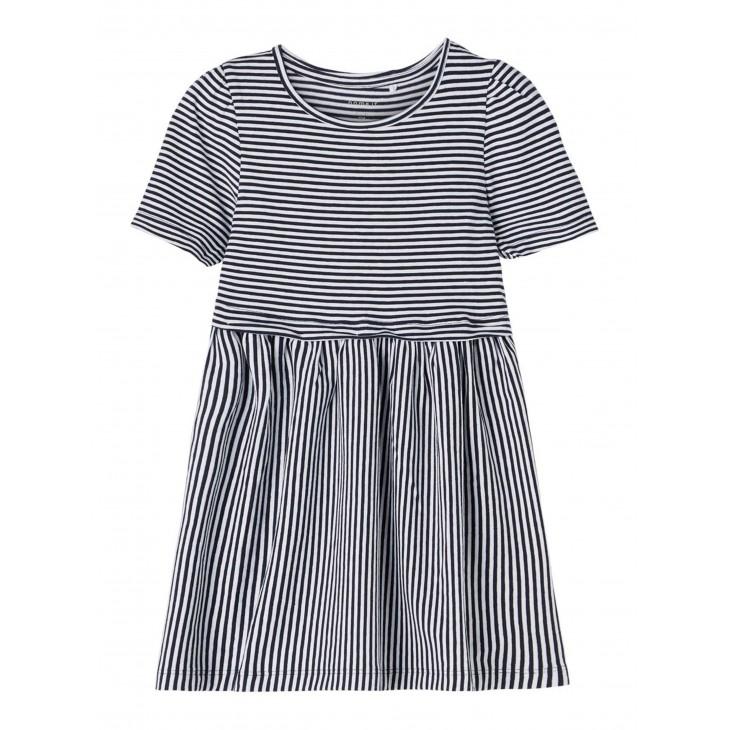 φόρεμα οργανικό βαμβάκι κοντό μανίκι ριγέ λευκό-μπλε bright white name it 13187626