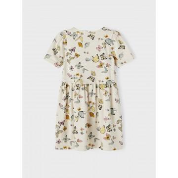 φόρεμα οργανικό βαμβάκι κοντό μανίκι με πεταλούδες εκρού peyote melange name it 13187626