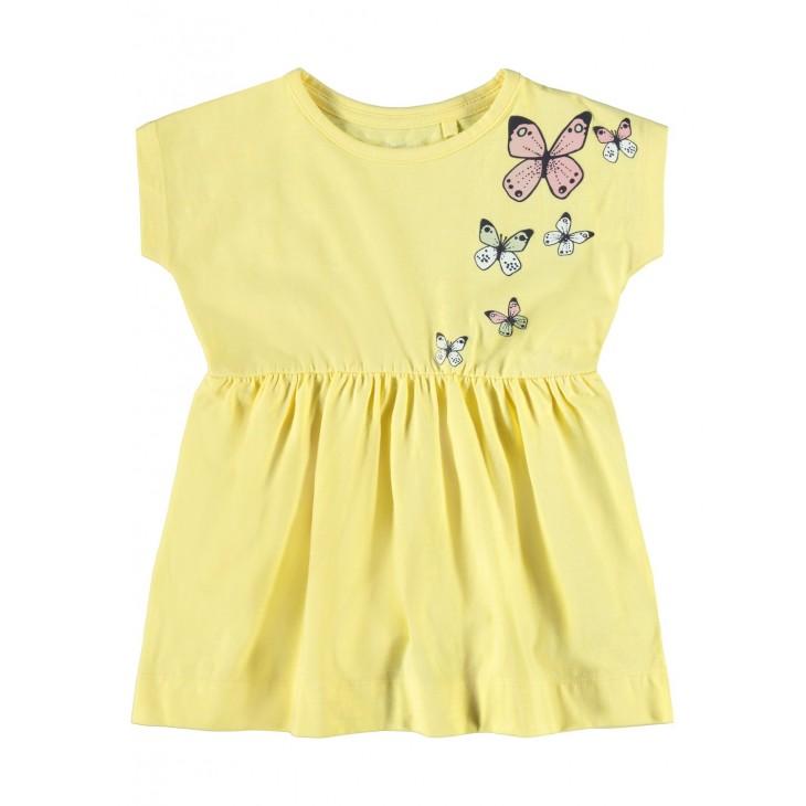 φόρεμα οργανικό βαμβάκι κοντό μανίκι με τύπωμα κίτρινο popcorn name it 13187688