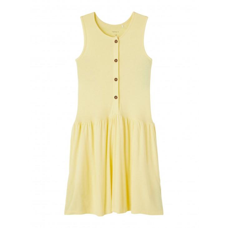 φόρεμα αμάνικο οργανικό βαμβάκι με κουμπάκια μπροστά κίτρινο popcorn 13187724
