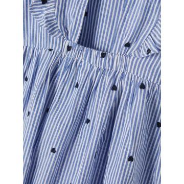 φόρεμα οργανικό βαμβάκι ,αμανικο,ριγέ και κέντημα καρδιές,εξωπλατο σιελdusty blue name it 13188245