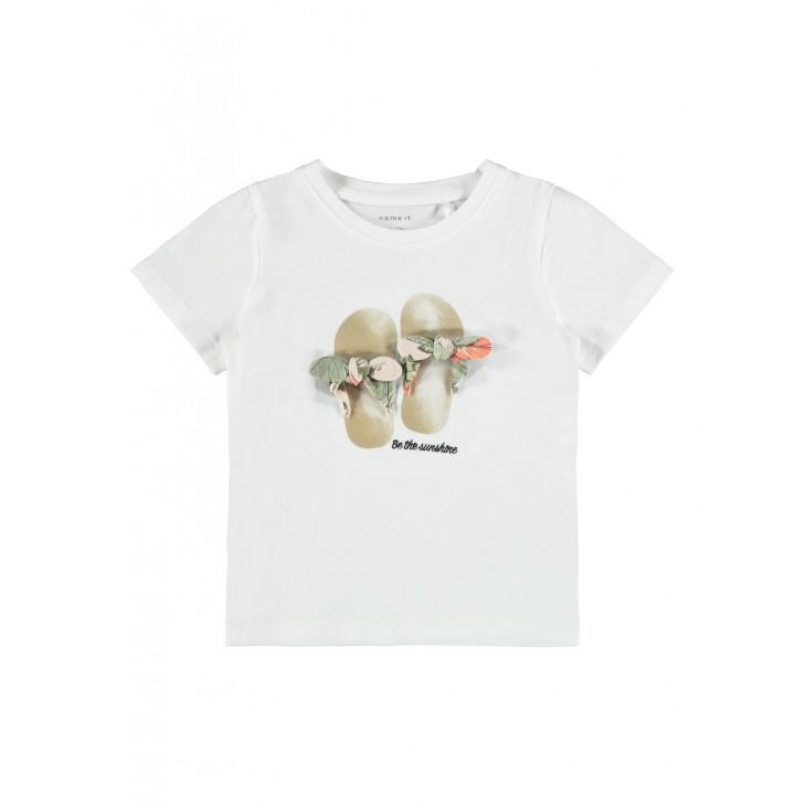 μπλούζα οργανικό βαμβάκι κοντό μανίκι λευκό bright white name it 13189014