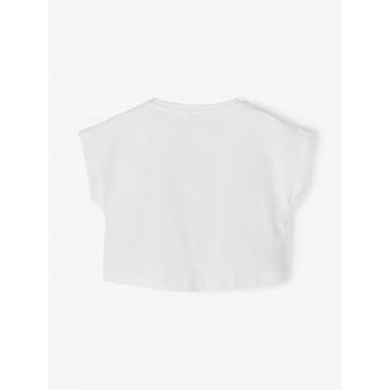 μπλούζα οργανικό βαμβάκι κοντό μανίκι με τύπωμα λευκό bright white name it 13189234