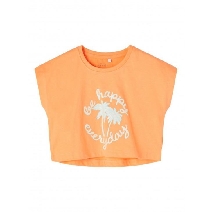 μπλούζα κοντό μανίκι οργανικό βαμβάκι με τύπωμα σομόν cantaloupe name it 13189234