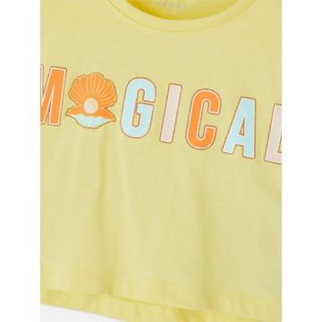 μπλούζα οργανικό βαμβάκι κοντό μανίκι με τύπωμα κίτρινο yellow pear name it 13189234