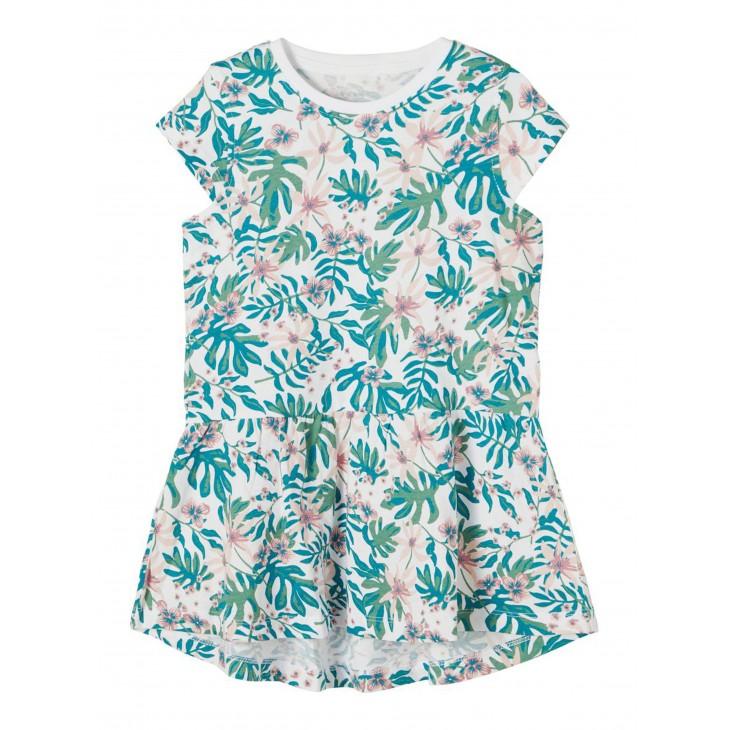 φόρεμα οργανικό βαμβάκι κοντό μανίκι με λουλούδια λευκό bright white name it 13189309