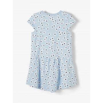 φόρεμα οργανικό βαμβάκι,κοντό μανίκι με λουλούδια σιελ cashmere blue name it 13189309