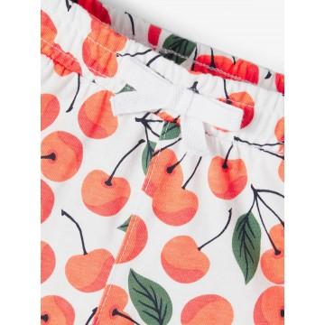 σορτς οργανικό βαμβάκι με στάμπα κερασάκια λευκό persimmon name it 13189325