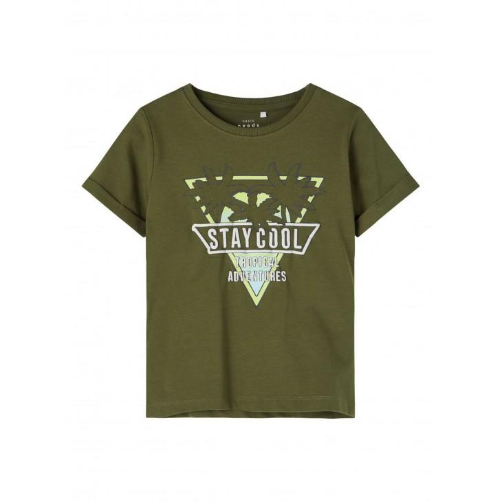 μπλούζα κοντό μανίκι οργανικό βαμβάκι με στάμπα χακί ivy green name it 13189430