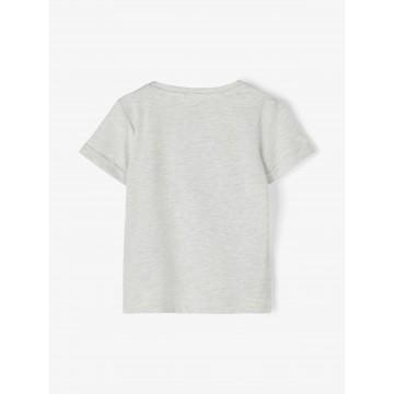 μπλούζα κοντό μανίκι οργανικό βαμβάκι με στάμπα γκρι light grey melange name it 13189430