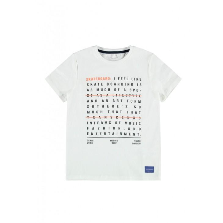 μπλούζα κοντό μανίκι ογανικο βαμβάκι με τύπωμα λευκό bright white name it 13189507