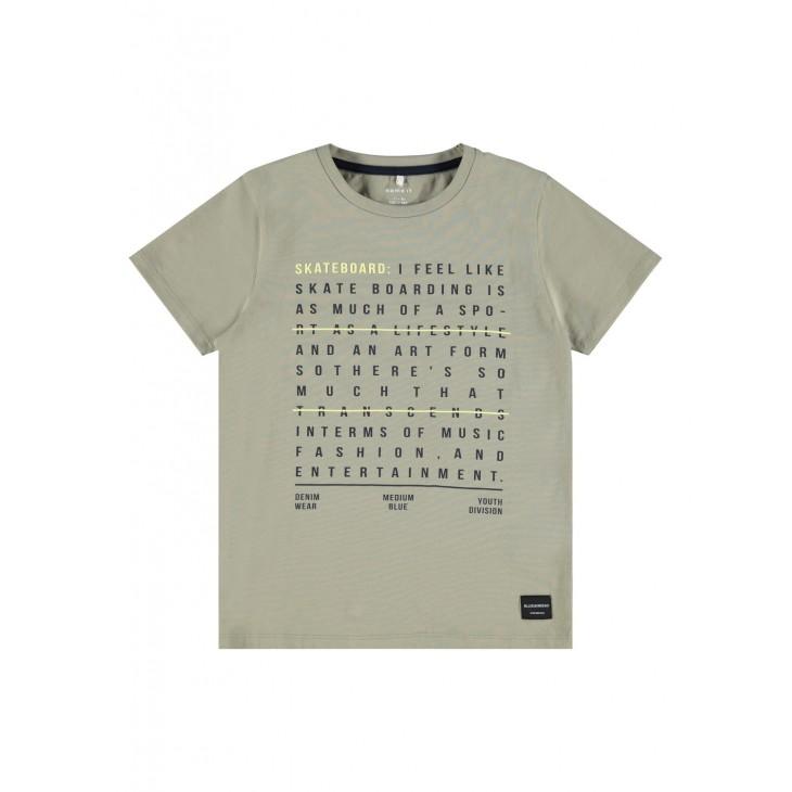 μπλούζα κοντό μανίκι οργανικό βαμβάκι με τύπωμα χακί silver sage name it 13189507