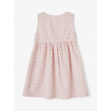 φορεμα αμανικο,οργανικο βαμβακι με κουμπακια,ριγε με κεντημα λουλουδακια ροζ desert sand name it 13190057