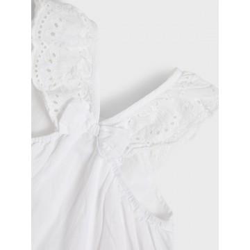 φόρεμα οργανικό βαμβάκι αμάνικο με λεπτομέρεια φιόγκο στην πλάτη λευκό bright white name it 13190222