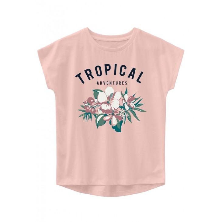 μπλούζα κοντό μανίκι οργανικό βαμβάκι με στάμπα ροζ peach whip name it 13191116