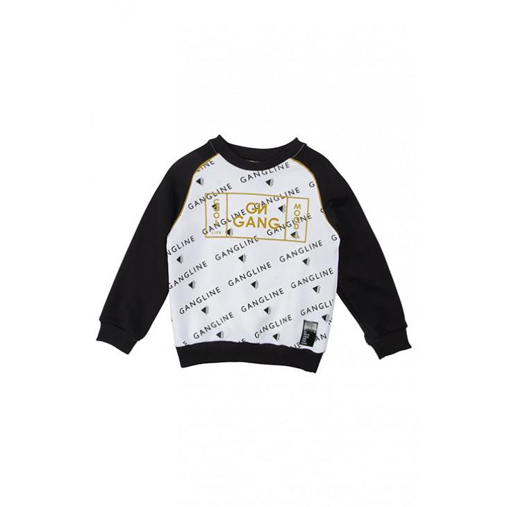 μπλούζα φούτερ μακρύ μανίκι με στάμπα λευκό -μαύρο black-white gang 220537