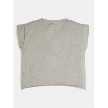 μπλούζα κοντό μανίκι cropped με glitter στη σταμπα γκρι J81I15J1300-LHY
