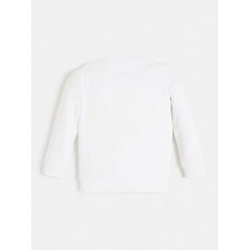 μπλούζα φούτερ μακρύ μανίκι χωρίς χνούδι με glitter η σταμπα λευκο GUESS K74Q12K5WK0-TWHT