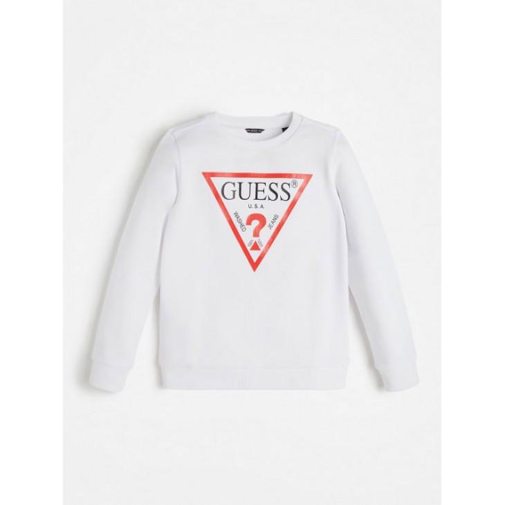 μπλούζα μακρύ μανίκι φούτερ χωρίς χνούδι με στάμπα το λογότυπο λευκό  GUESS L73Q09K5WK0-TWHT