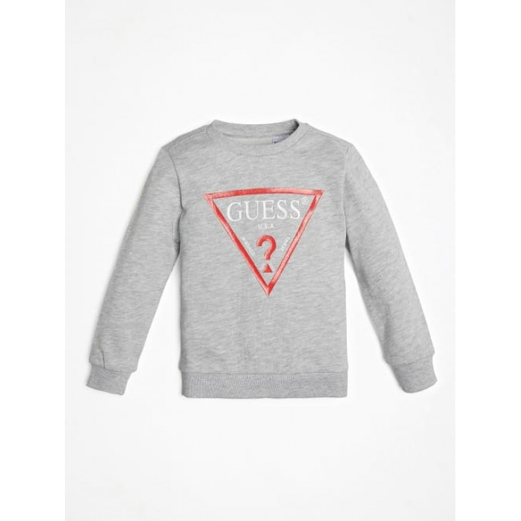 μπλούζα μακρύ μανίκι φούτερ χωρίς χνούδι με στάμπα γκρι grey GUESS N73Q10K5WK0-M90