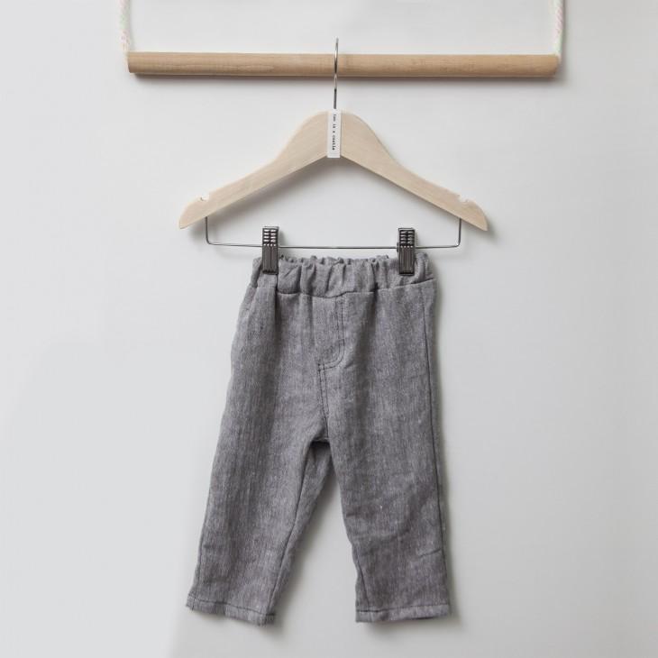 παντελόνι λεπτό καλοκαιρινό με λάστιχο στη μέση γκρι grey TWO IN A CASTLE T2349