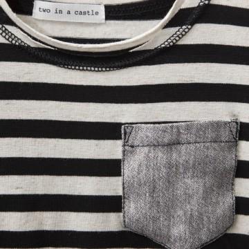 μπλούζα κοντό μανίκι ριγέ με τσεπάκι γκρι grey TWO IN A CASTLE T2350