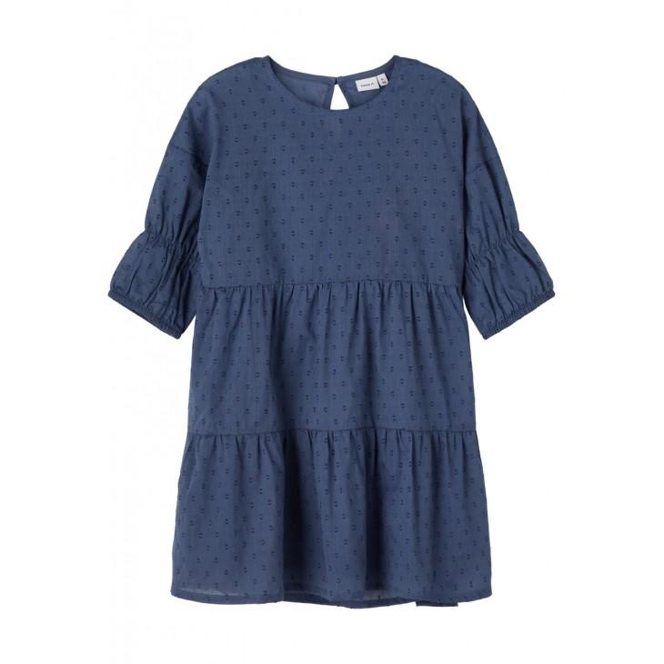 φόρεμα με τρία τέταρτα μανίκι οργανικό βαμβάκι μπλε vintage indigo name it 13188269