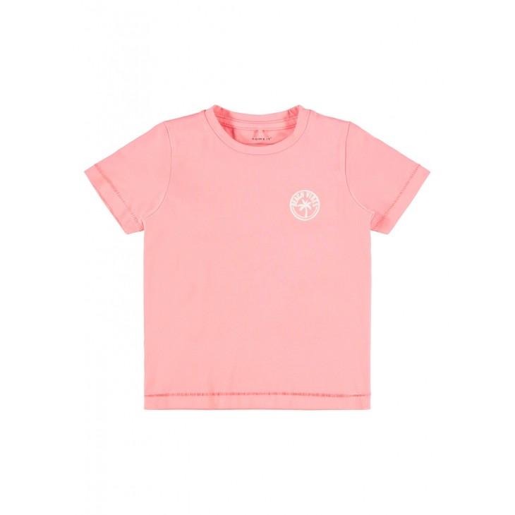 μπλούζα κοντό μανίκι οργανικό βαμβάκι κοραλλί neon coral name it 13188324