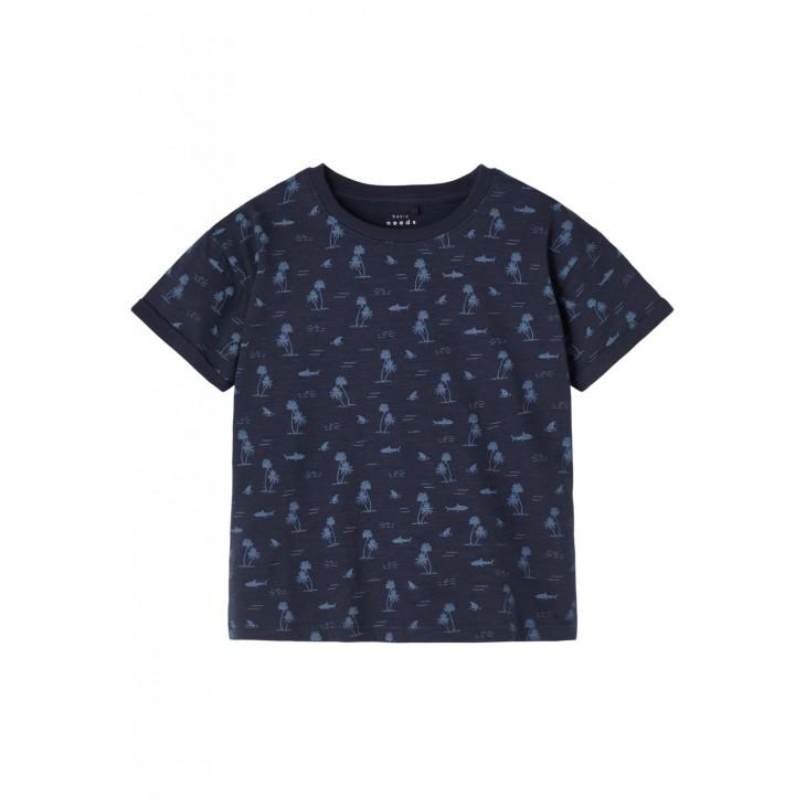 μπλούζα οργανικό βαμβάκι κοντό μανίκι με τύπωμα σε όλη την μπλούζα μπλε σκούρο dark sapphire name it 13189439