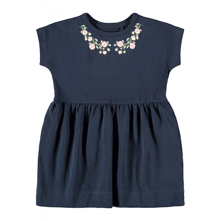 φορεμα οργανικό βαμβάκι κοντό μανίκι με τύπωμα μπλε σκούρο dark sapphire name it 13187688