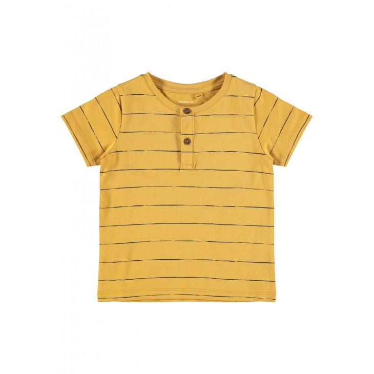 μπλούζα κοντό μανίκι οργανικό βαμβάκι ριγέ με κουμπάκια μουσταρδί spruce yellow name it 13187690