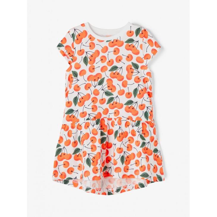 φόρεμα οργανικό βαμβάκι,κοντο μανίκι με στάμπα κεράσια λευκό persimmon name it 13189309